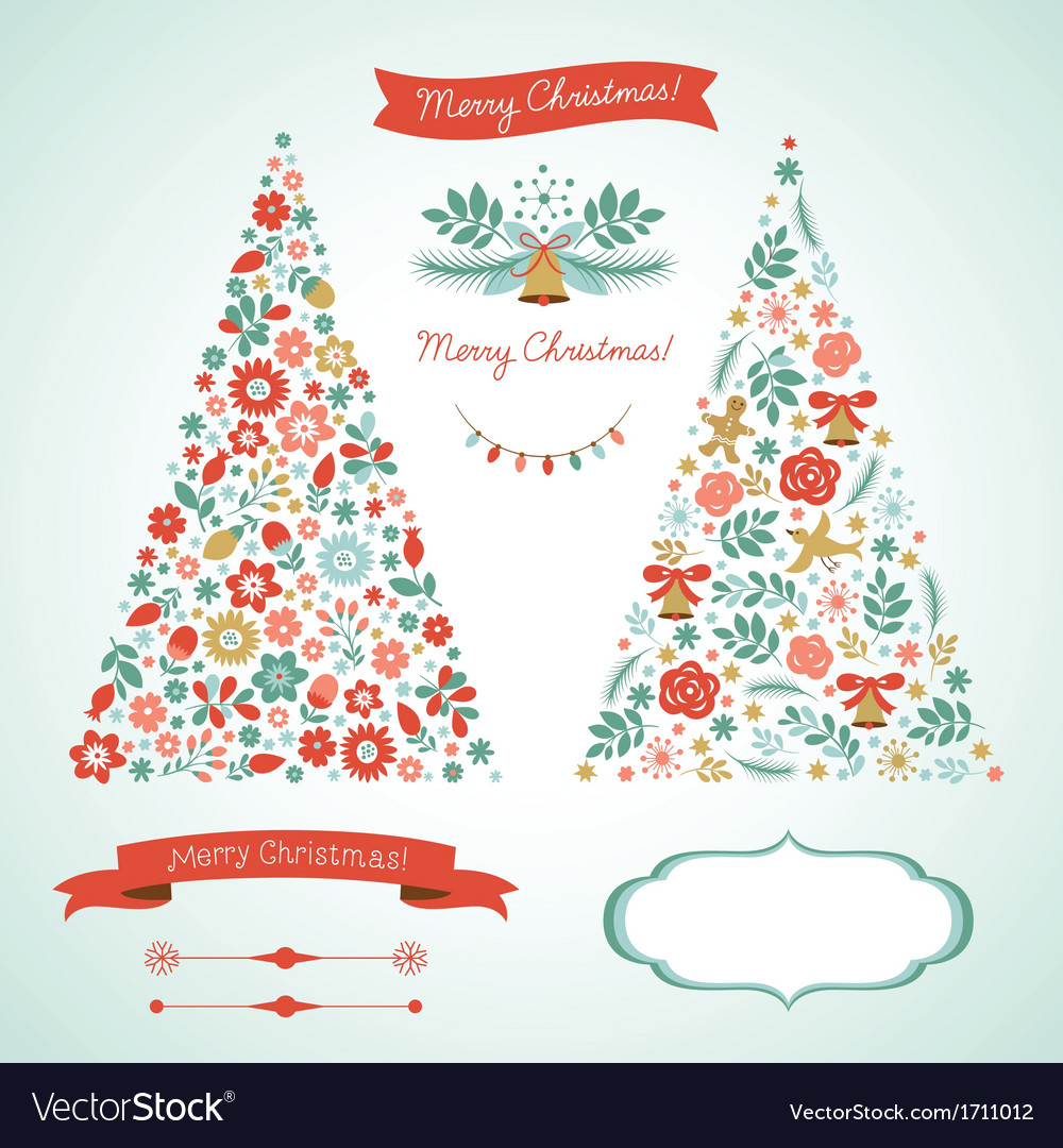 Christmas trees and graphic elements vector | Price: 1 Credit (USD $1)