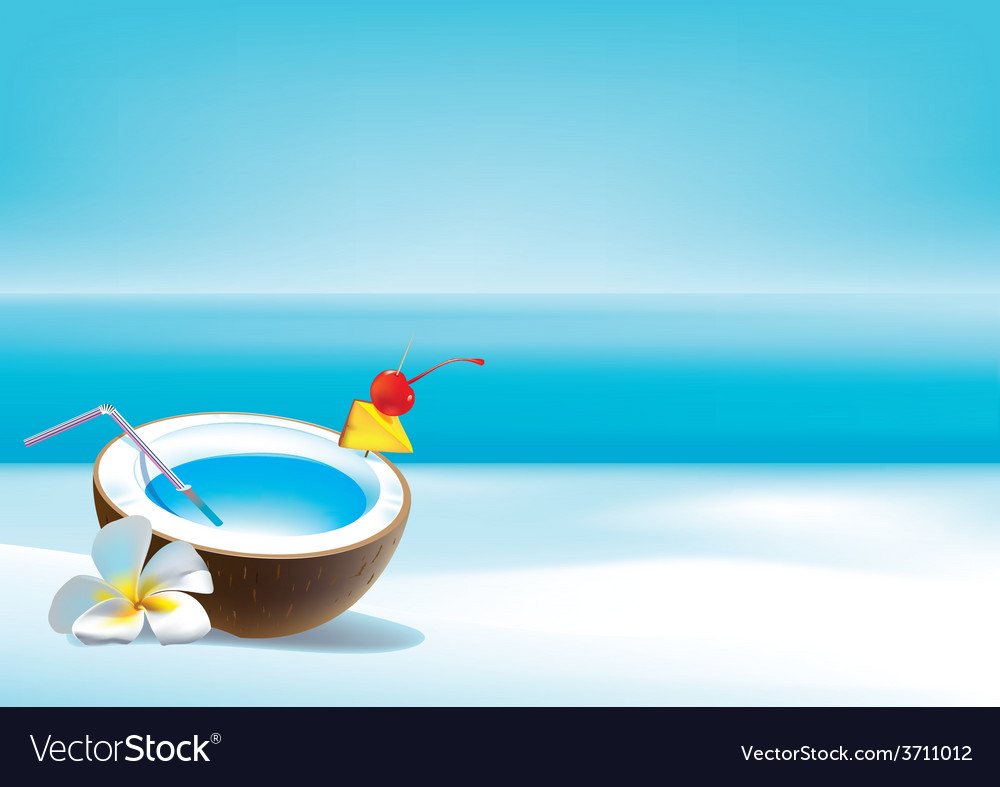 Coconut coctail on beach vector | Price: 3 Credit (USD $3)