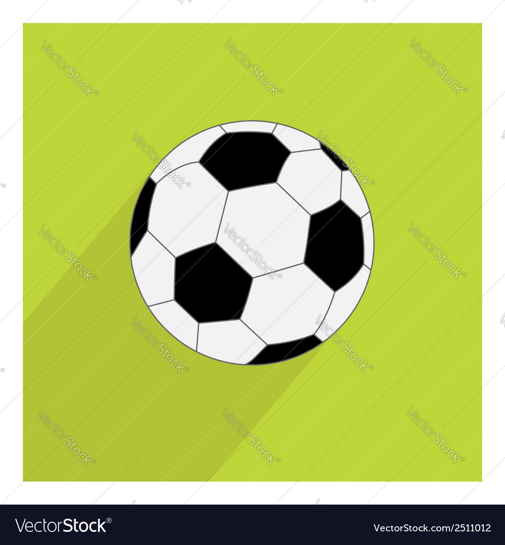 Football soccer ball icon with long shadow flat vector | Price: 1 Credit (USD $1)