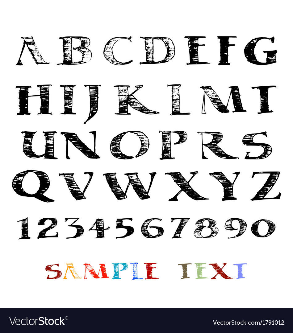 Hand drawn grunge alphabet vector | Price: 1 Credit (USD $1)
