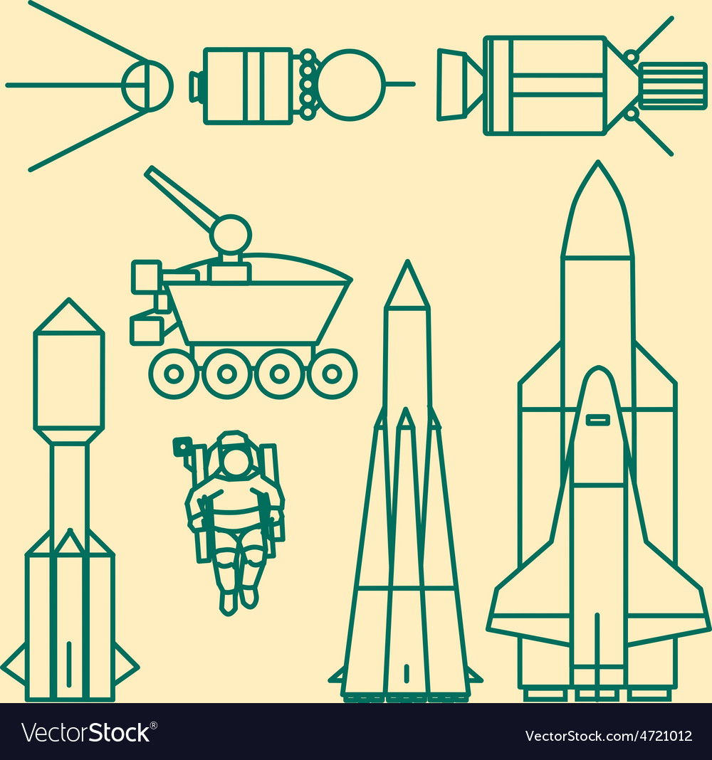Linear set of icons relating to space exploration vector | Price: 1 Credit (USD $1)