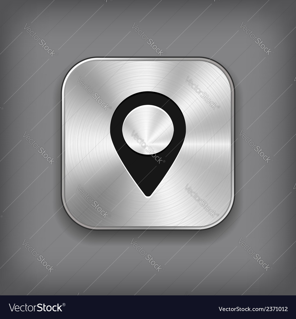 Map pointer icon - metal app button vector | Price: 1 Credit (USD $1)