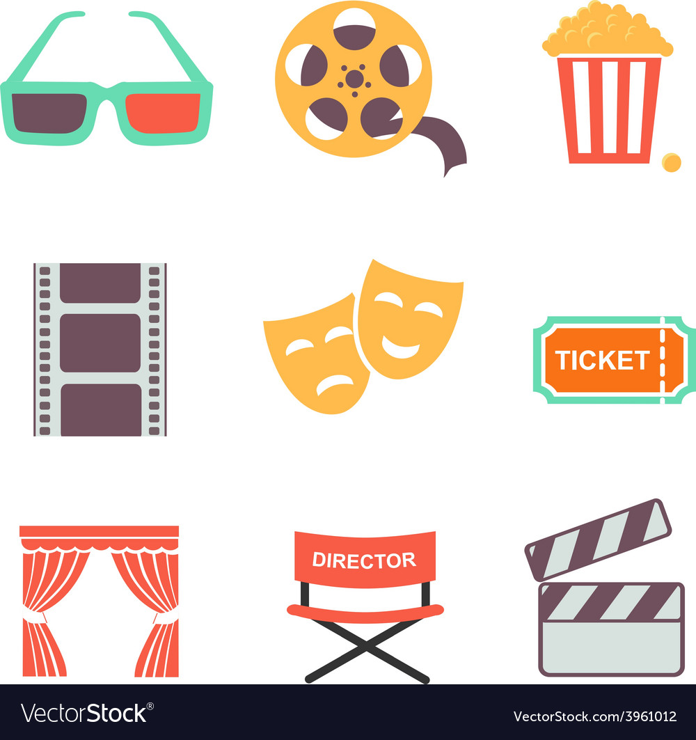 Movie and film icons set flat style design vector | Price: 1 Credit (USD $1)