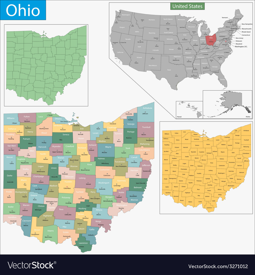 Ohio map vector | Price: 1 Credit (USD $1)