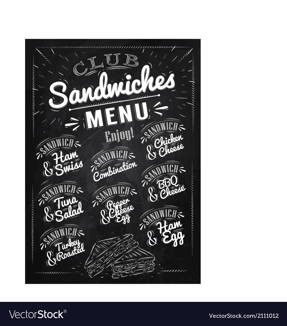 Sandwiches menu chalk vector | Price: 1 Credit (USD $1)