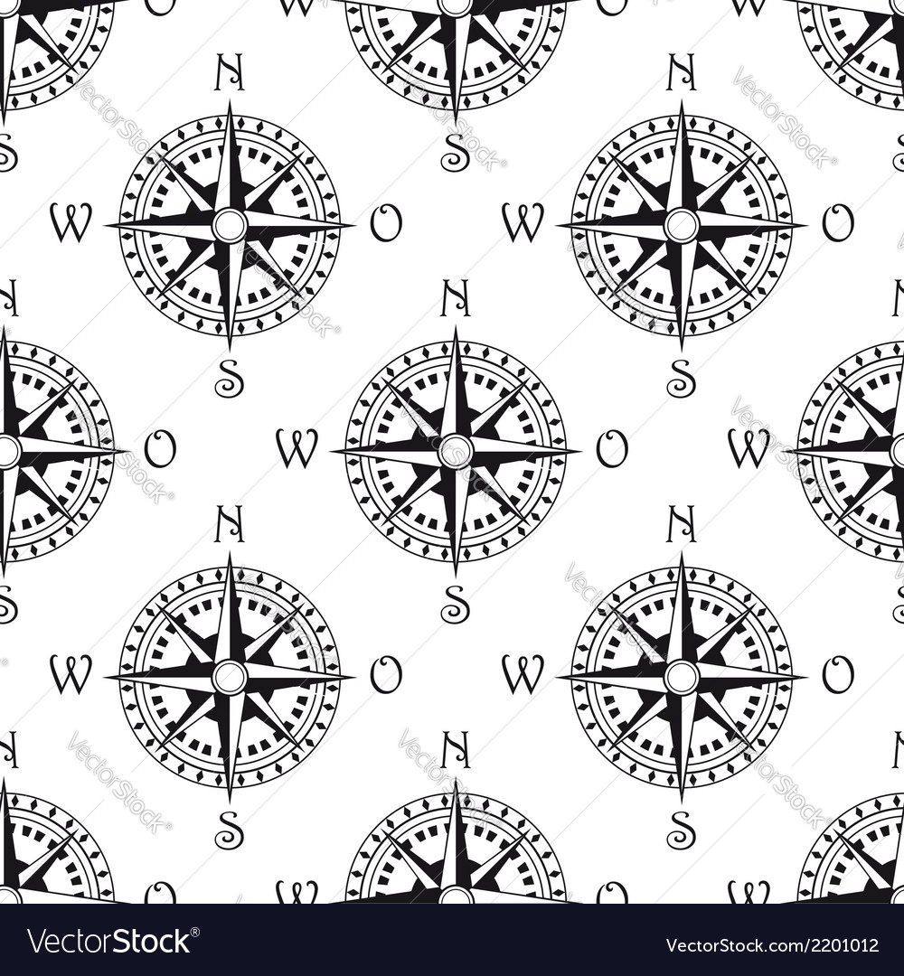 Seamless pattern of a vintage compass vector | Price: 1 Credit (USD $1)