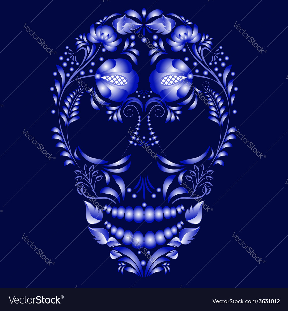 Skull decorated with blue pattern in gzhel style vector | Price: 1 Credit (USD $1)