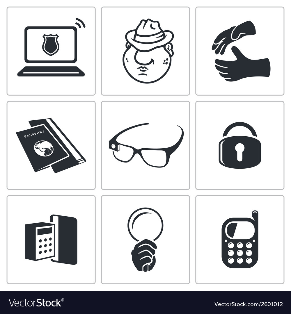 Spying icon set vector | Price: 1 Credit (USD $1)