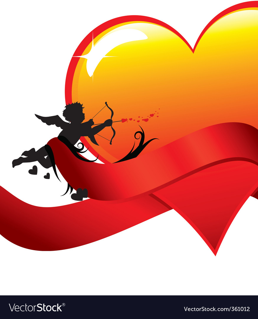 Valentine background with cupid vector | Price: 1 Credit (USD $1)
