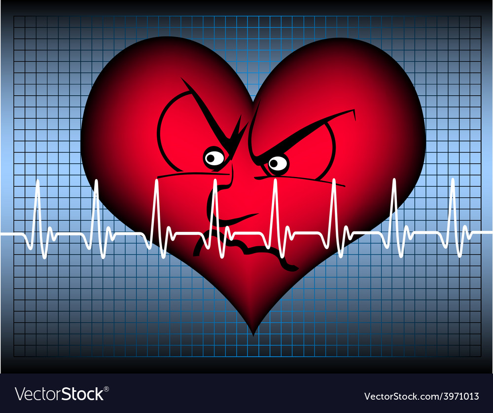 Angry heart on blue with cardio line vector | Price: 1 Credit (USD $1)