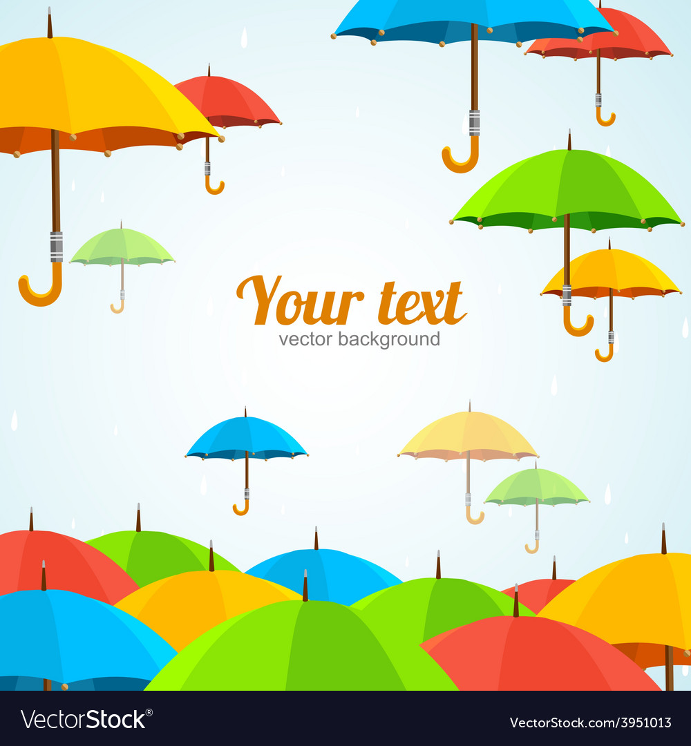 Colorful umbrellas fly flat design vector | Price: 1 Credit (USD $1)