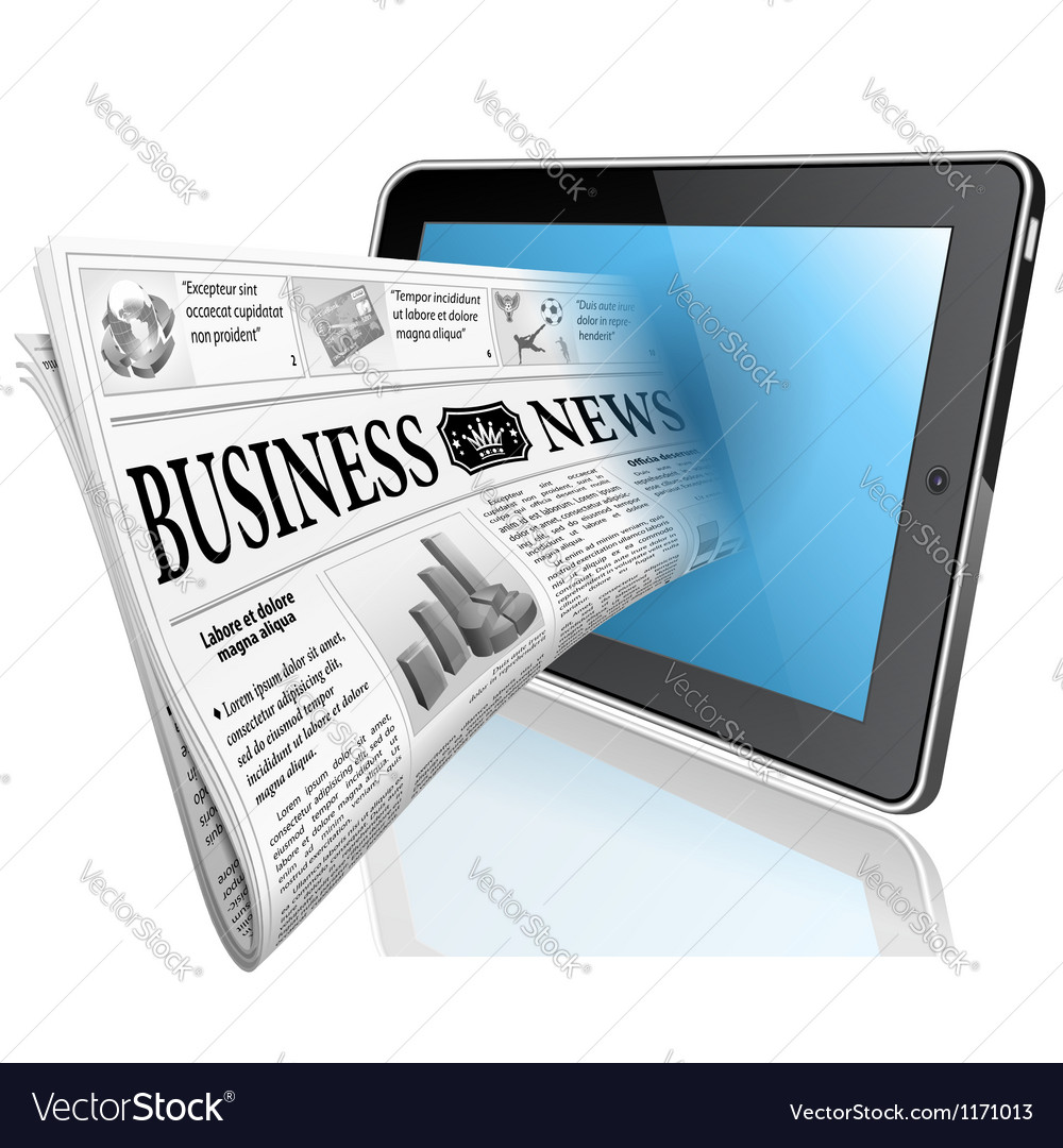 Concept - digital news witn newspaper and tablet p vector | Price: 3 Credit (USD $3)