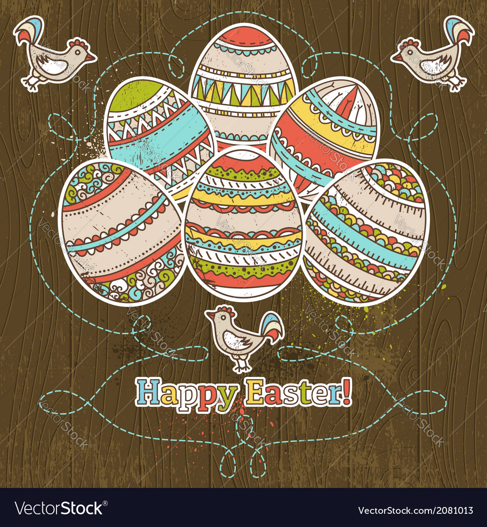 Easter eggs on grunge wooden background vector | Price: 1 Credit (USD $1)