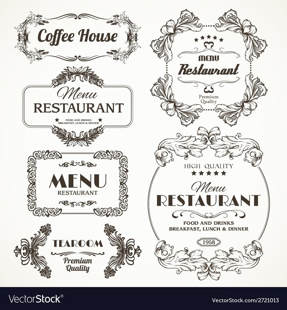 Floral restaurant frames vector | Price: 1 Credit (USD $1)