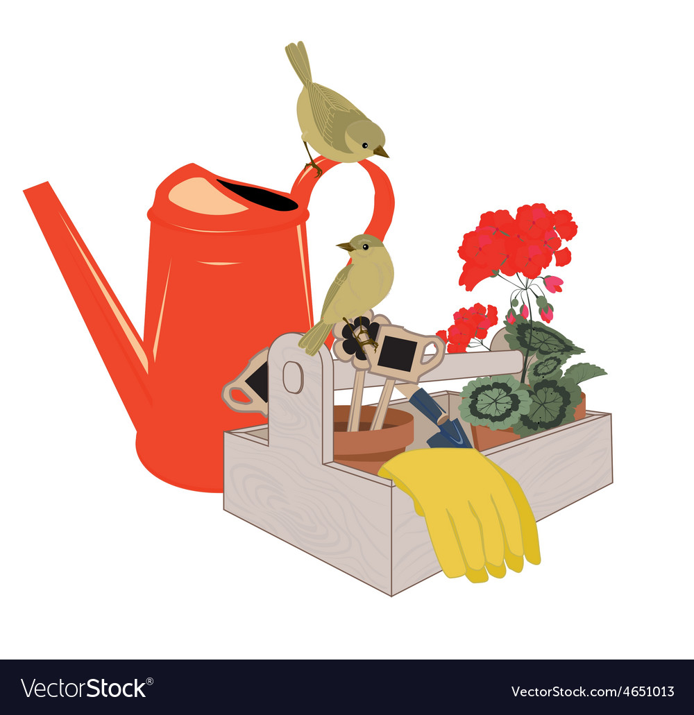 Garden tools and flowers vector | Price: 1 Credit (USD $1)