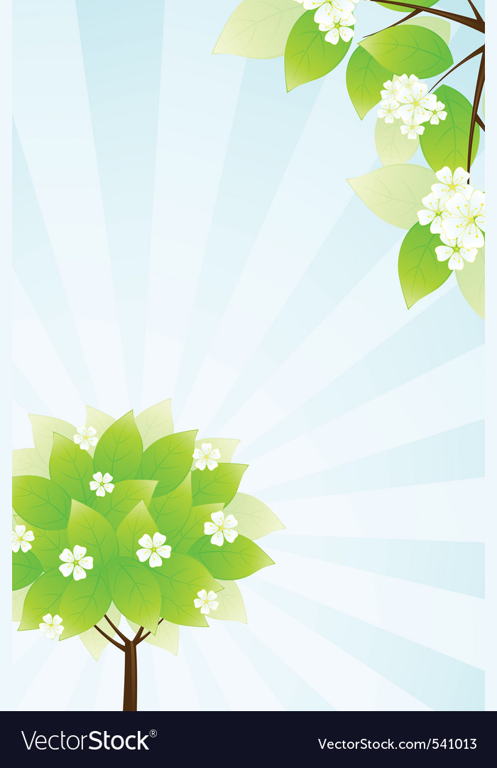 Green tree and sun rays in blue sky vector | Price: 1 Credit (USD $1)