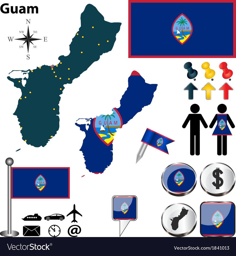 Guam map vector | Price: 1 Credit (USD $1)