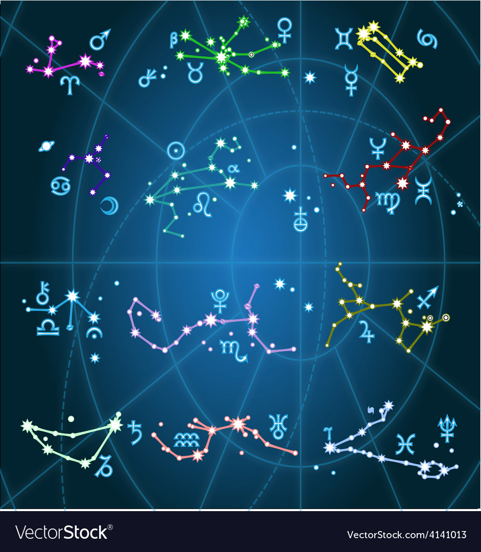 Horoscope astrological zodiac and constellation vector | Price: 1 Credit (USD $1)