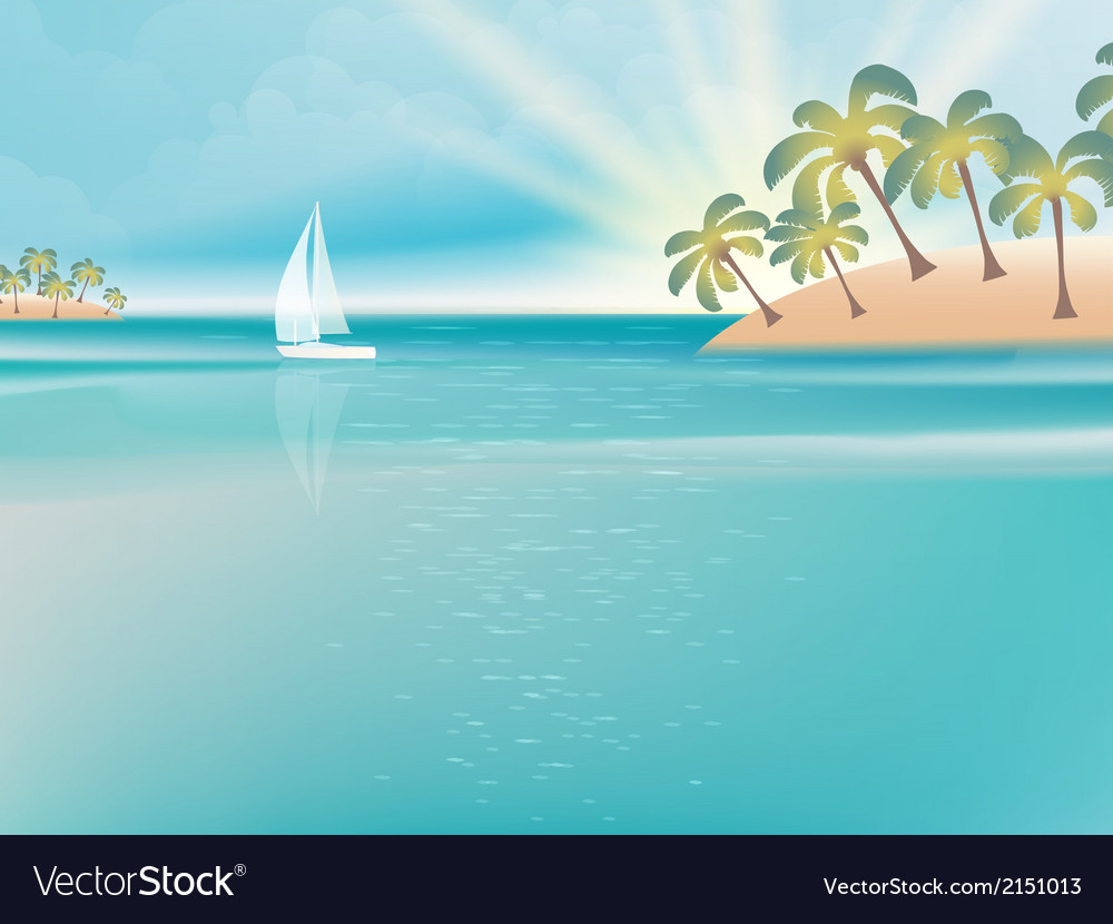 Island in turquoise water with yacht eps 10 vector | Price: 1 Credit (USD $1)