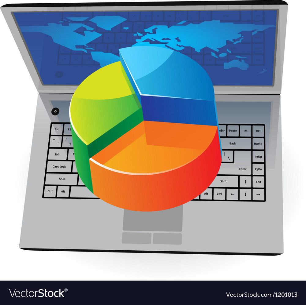 Laptop and pie-chart vector | Price: 1 Credit (USD $1)