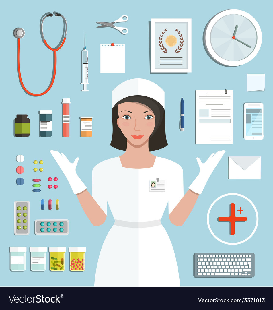 Nurse showing medical tools and medicament vector | Price: 1 Credit (USD $1)