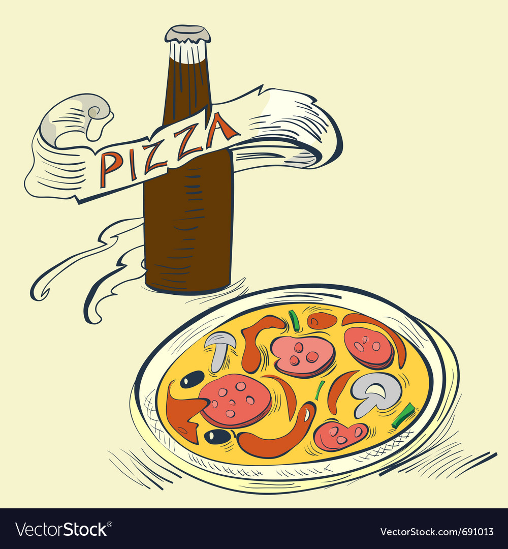 Pizza with bottle of soda vector | Price: 1 Credit (USD $1)