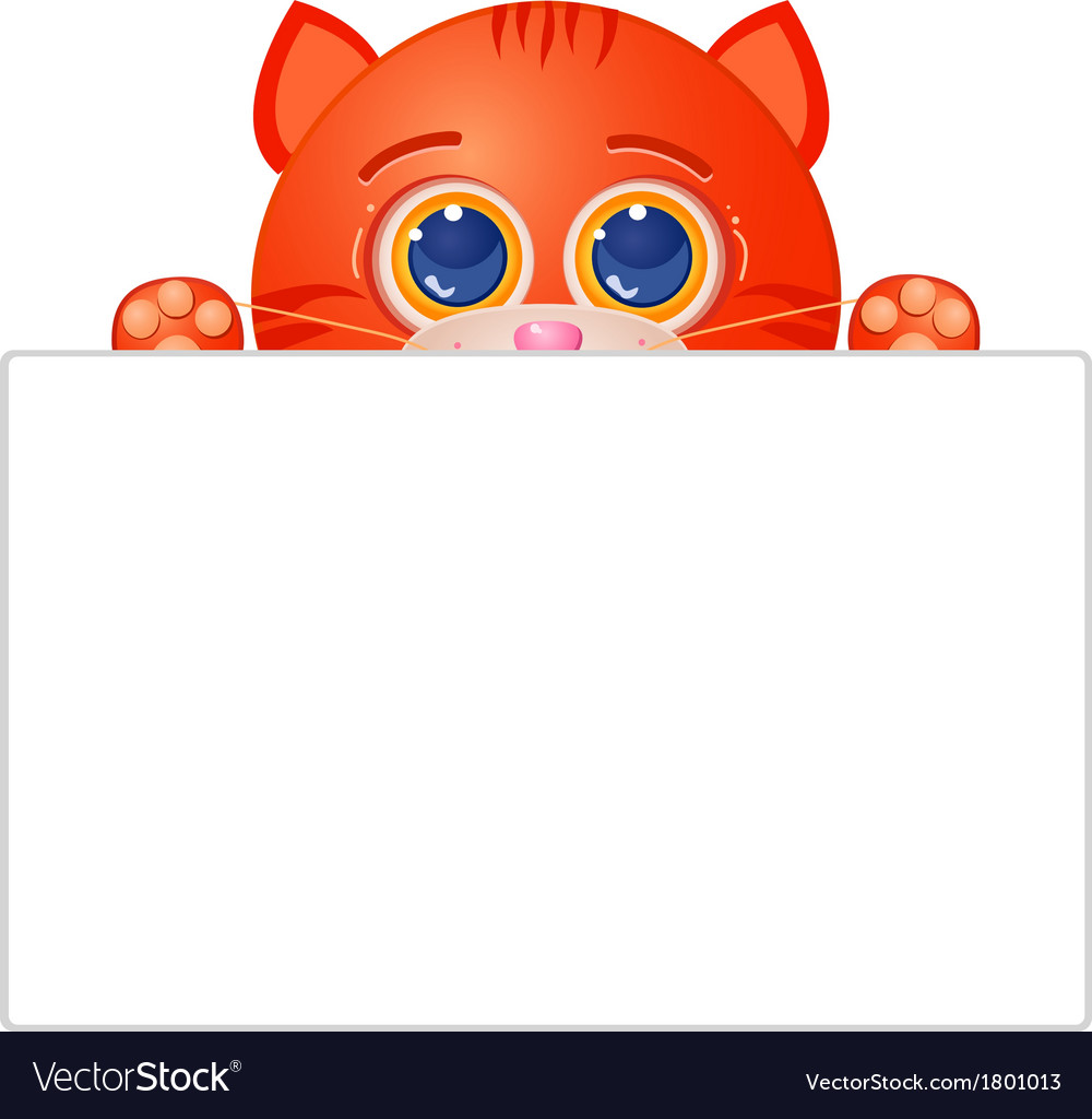 Red cat with blank sign vector | Price: 1 Credit (USD $1)