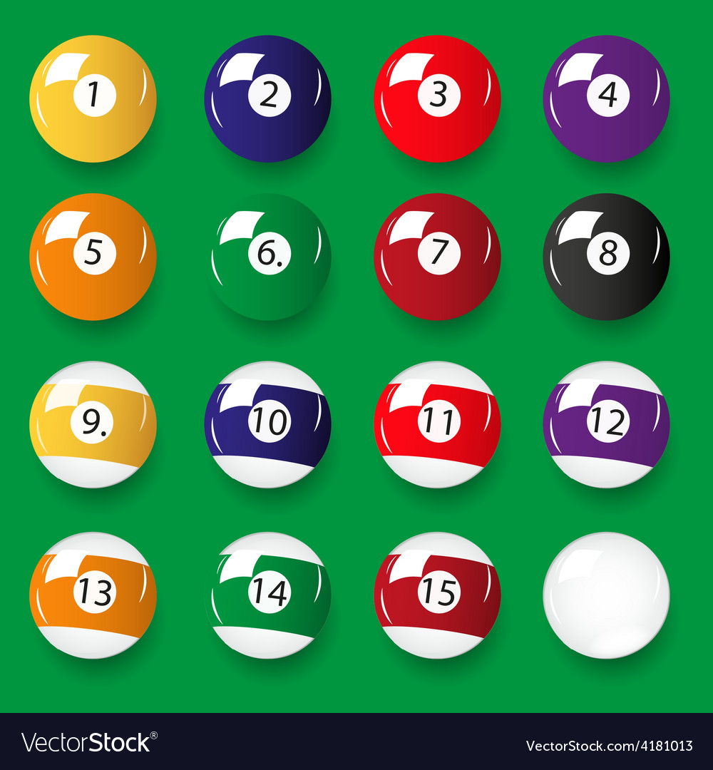 Set of 16 color billiards balls eps10 vector | Price: 1 Credit (USD $1)
