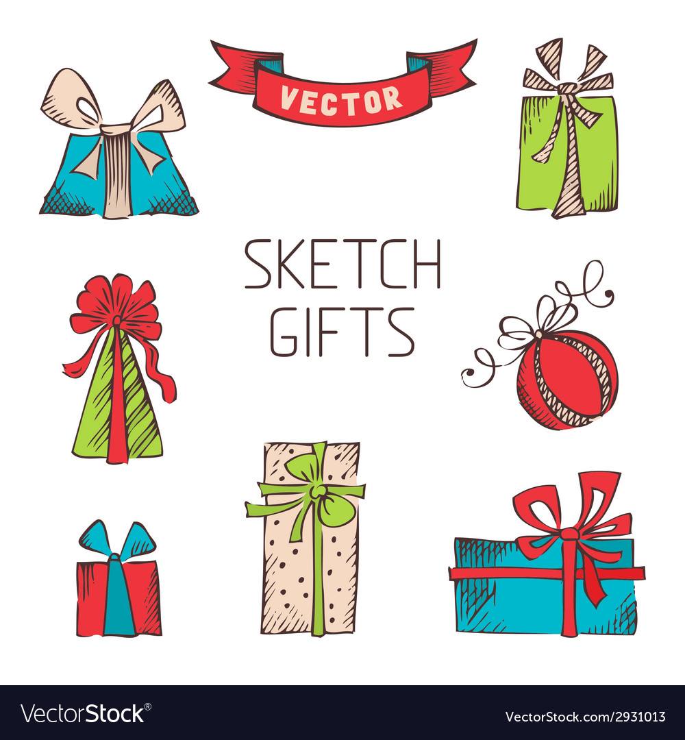 Set of hand drawn gifts vector | Price: 1 Credit (USD $1)