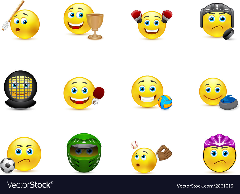 Set of smiles on the topic sport games vector | Price: 1 Credit (USD $1)