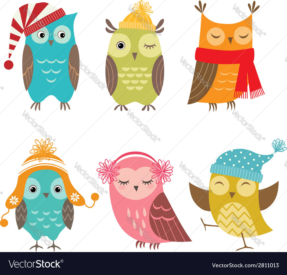 Winter owls vector | Price: 1 Credit (USD $1)