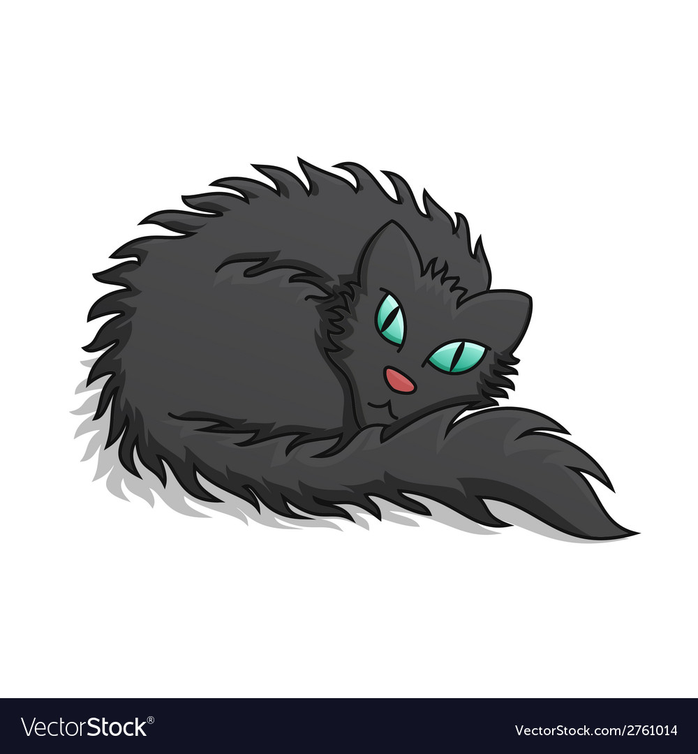 Black fluffy cat vector | Price: 1 Credit (USD $1)