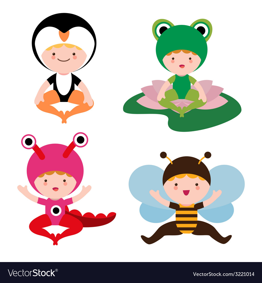 Cute baby in costumes set vector | Price: 1 Credit (USD $1)