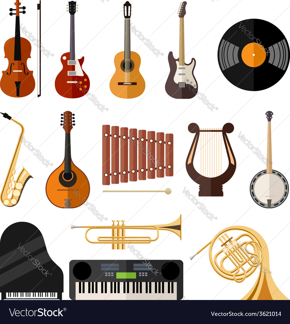 Music instruments flat icons vector | Price: 1 Credit (USD $1)