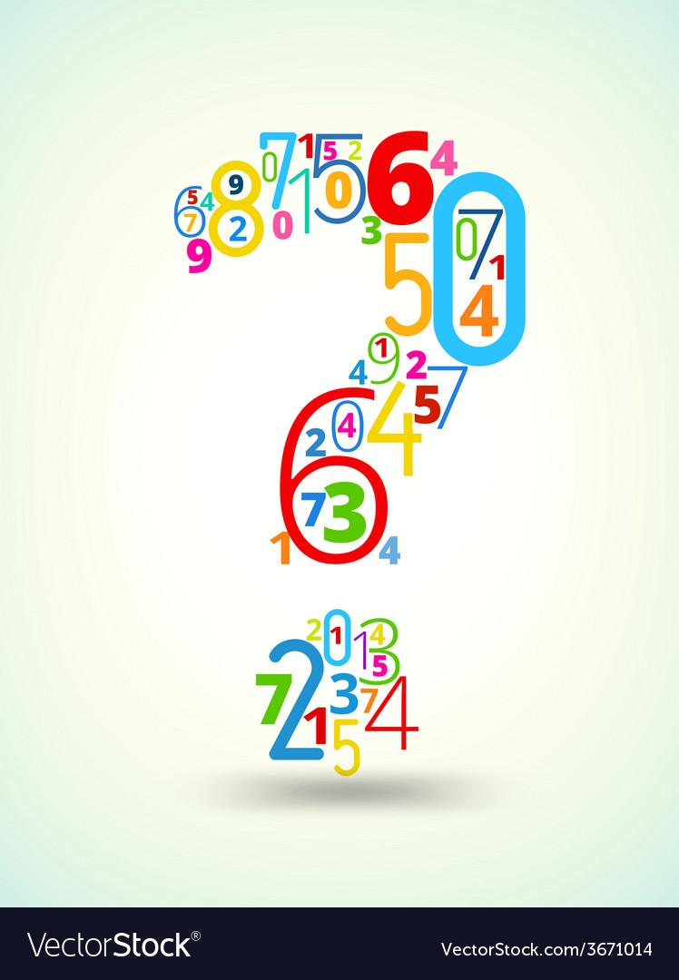 Question mark colored font from numbers vector   Price: 1 Credit (USD $1)