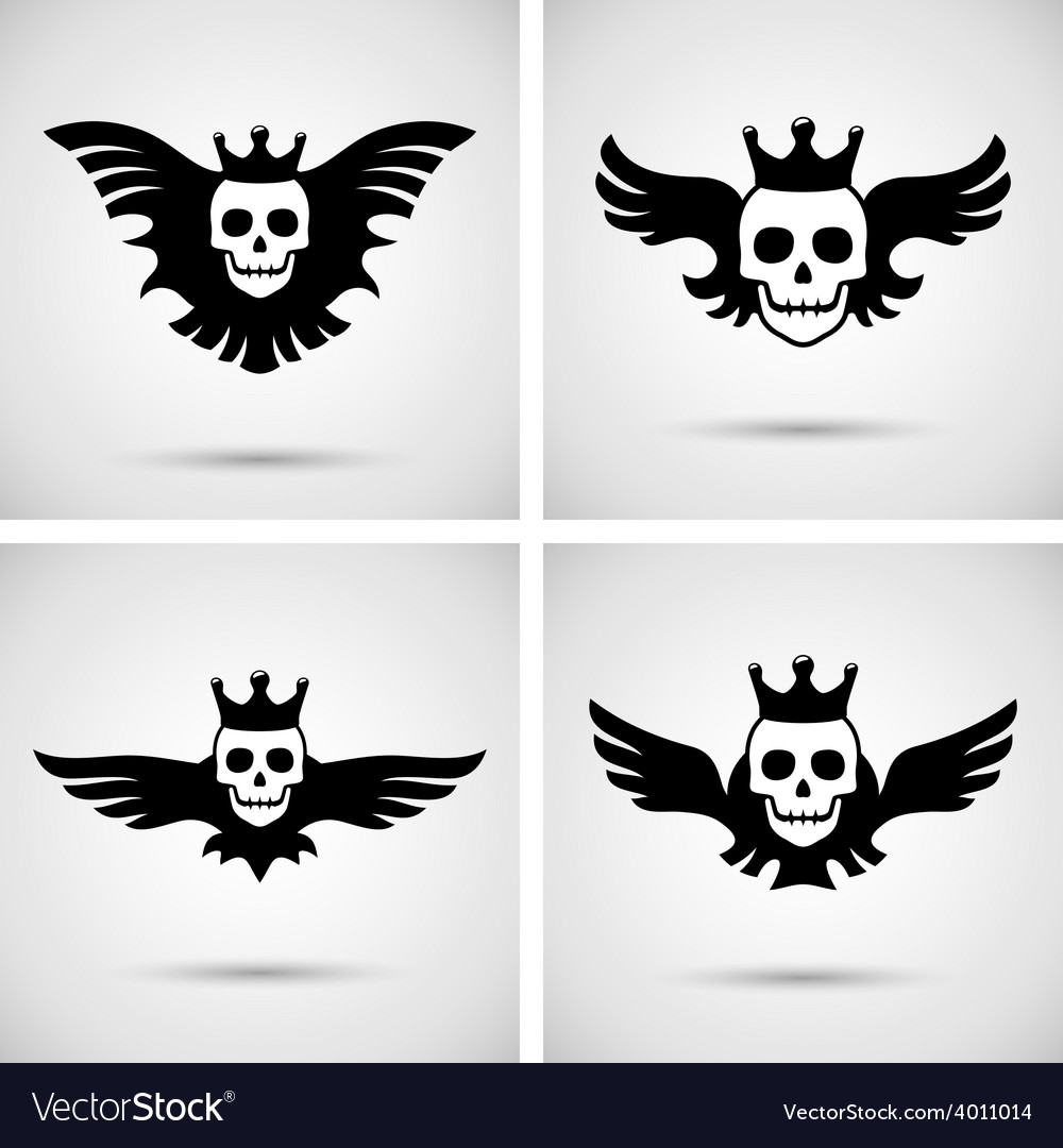 Skull with crown and wings vector | Price: 1 Credit (USD $1)