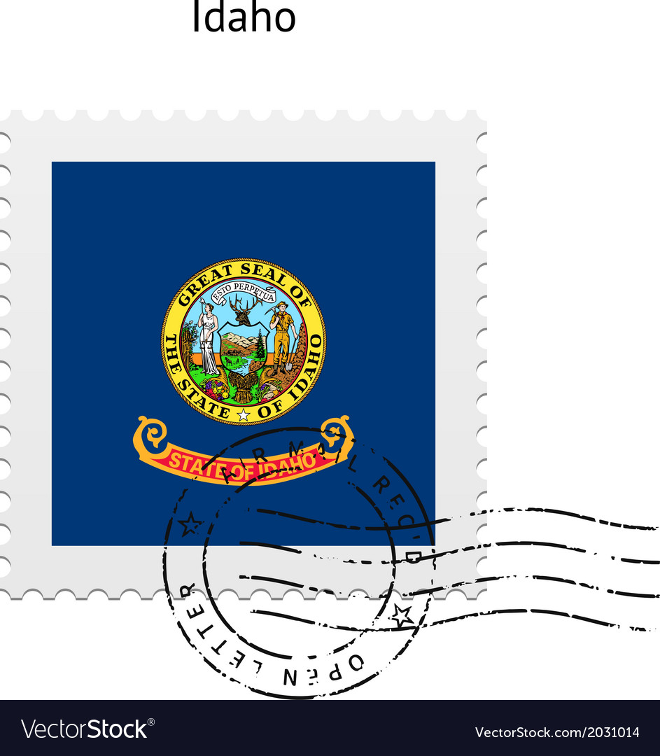 State of idaho flag postage stamp vector | Price: 1 Credit (USD $1)