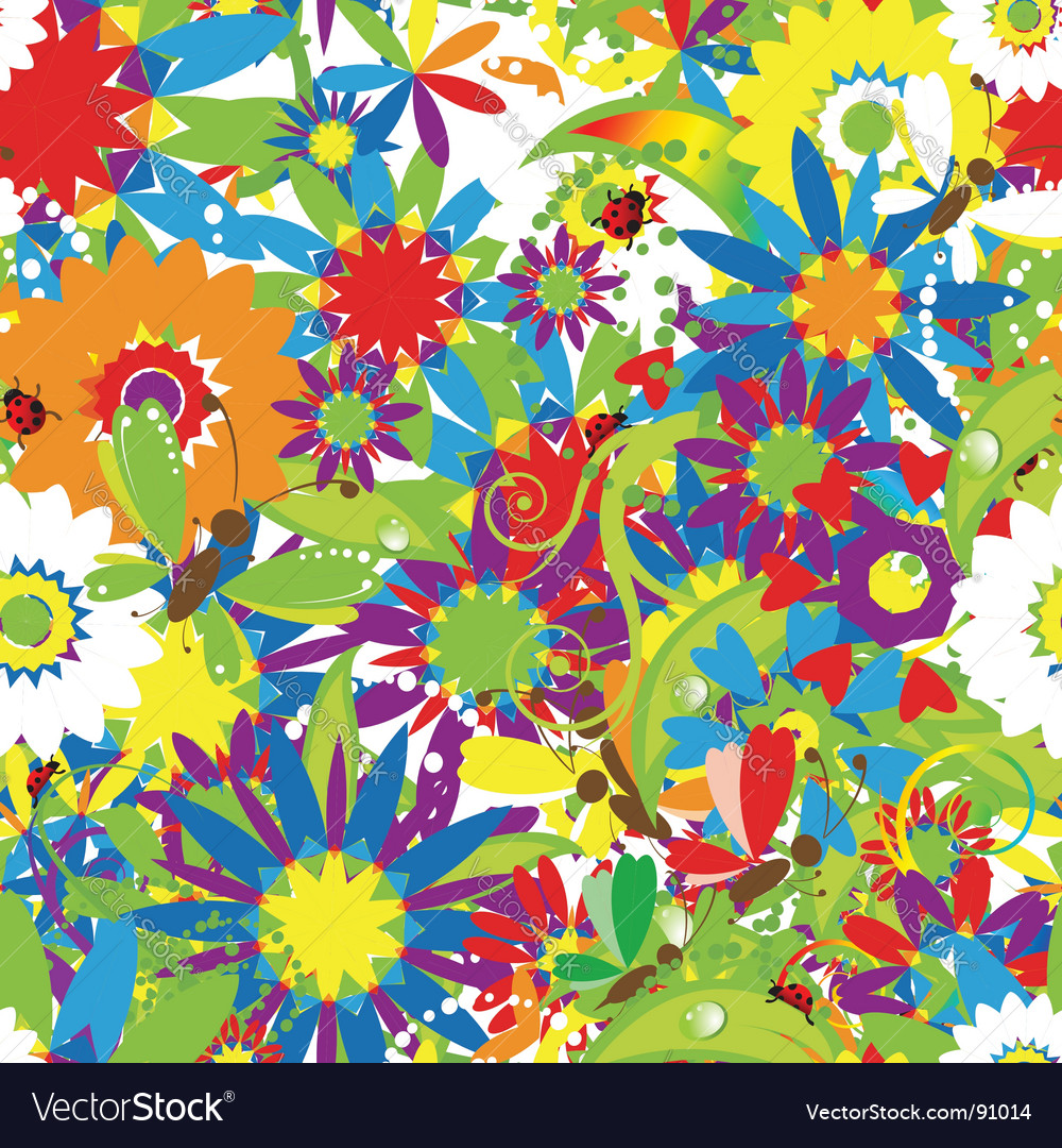 Summer day floral seamless vector | Price: 1 Credit (USD $1)