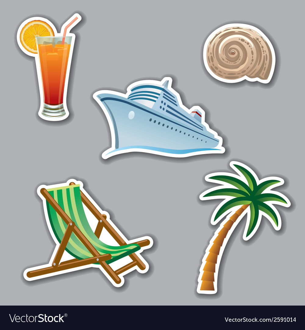 Vacation stickers vector | Price: 1 Credit (USD $1)