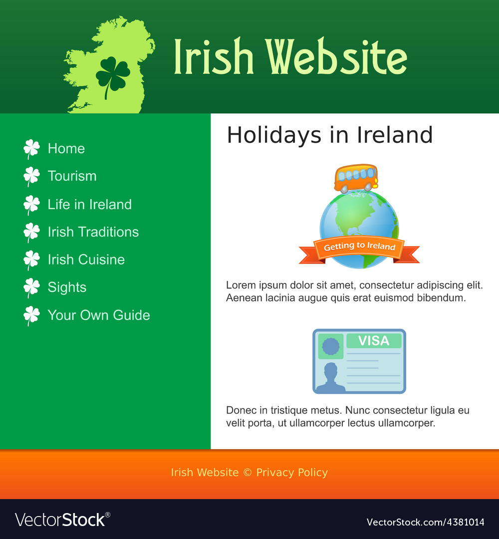Webdesign for site about ireland vector | Price: 1 Credit (USD $1)