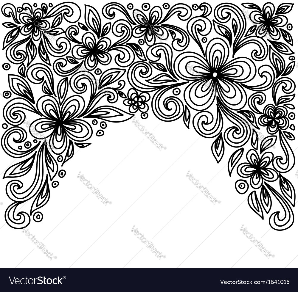 Black and white lace flowers and leaves vector | Price: 1 Credit (USD $1)