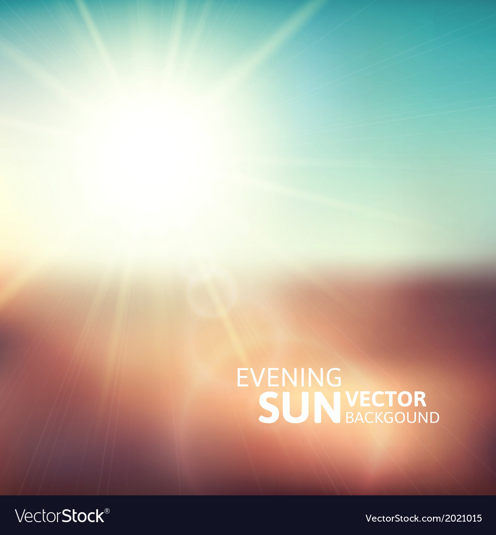 Blurry evening scene with brown field sun burst vector | Price: 1 Credit (USD $1)