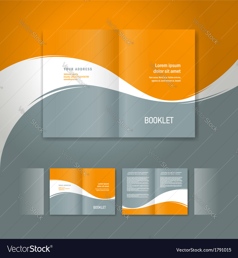 Booklet design template white curve line orange vector | Price: 1 Credit (USD $1)