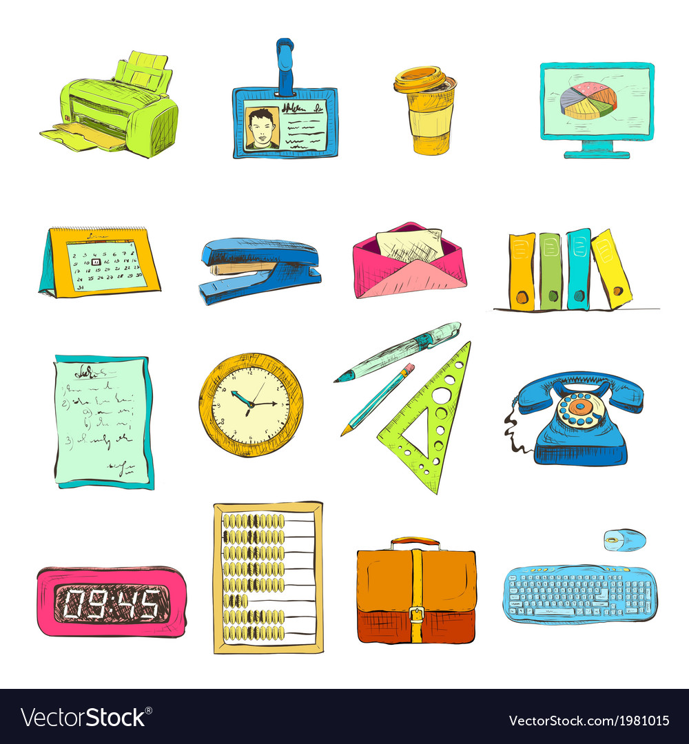 Business office stationery supplies icons set vector | Price: 1 Credit (USD $1)