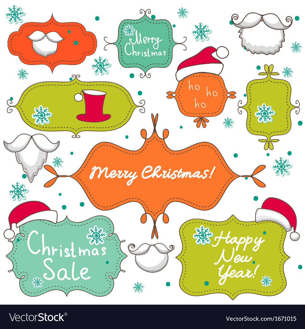 Collection of christmas decorative elements vector | Price: 1 Credit (USD $1)