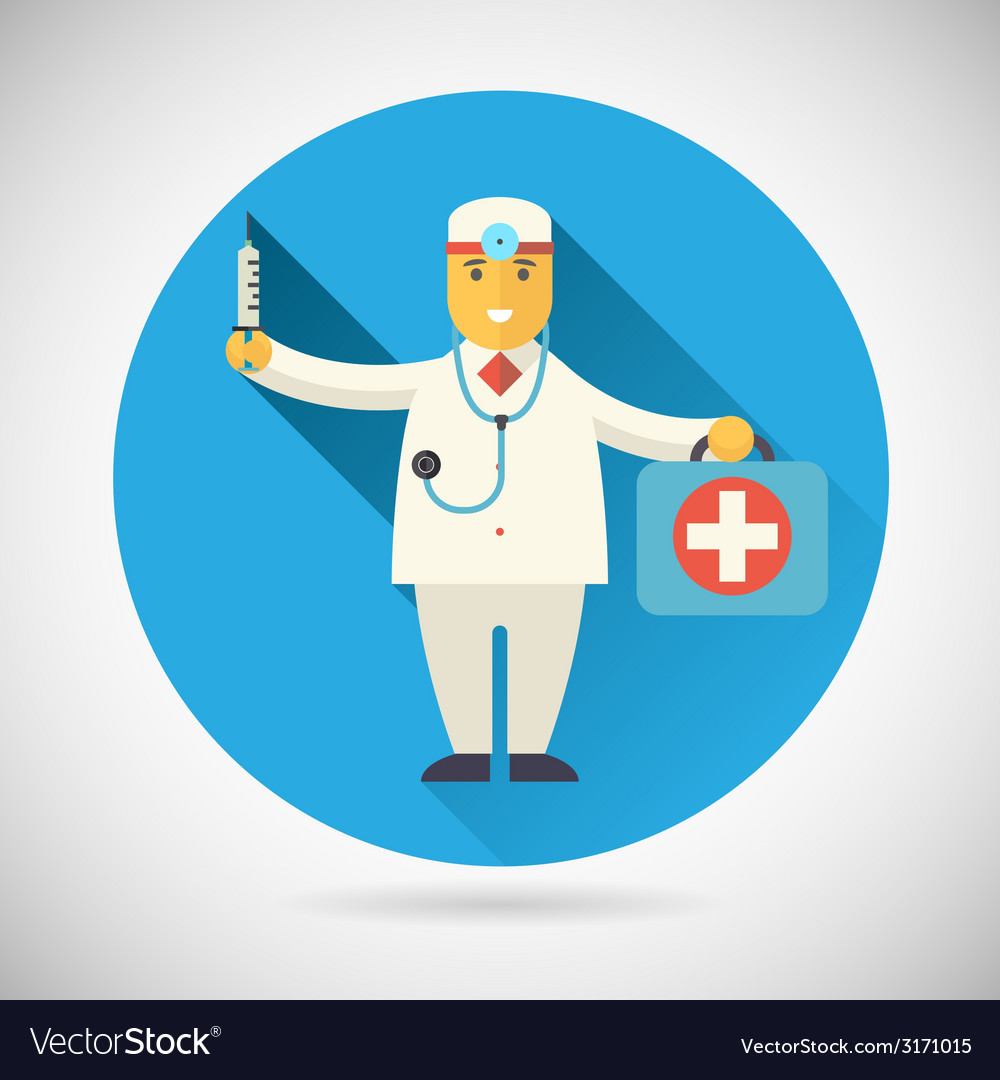 Doctor character with suitcase syringe stethoscope vector | Price: 1 Credit (USD $1)