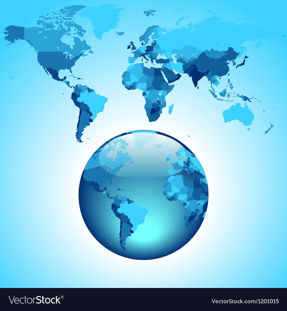 Globe on blue world map vector | Price: 1 Credit (USD $1)