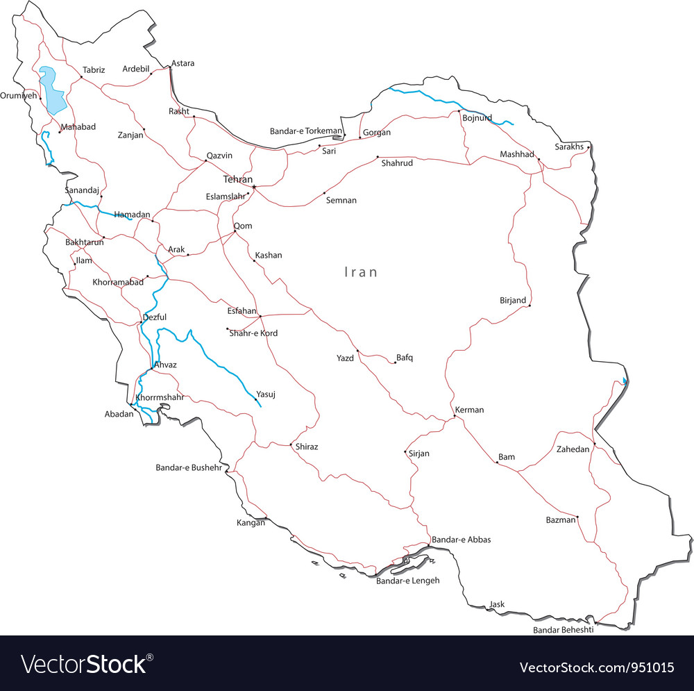 Iran black white map vector | Price: 1 Credit (USD $1)