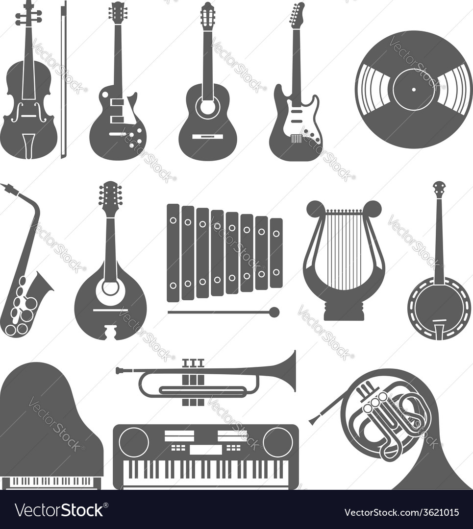 Music icon collection silhouette vector | Price: 1 Credit (USD $1)