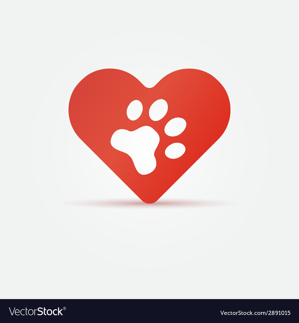 Pet paw in red heart animal love icon vector | Price: 1 Credit (USD $1)